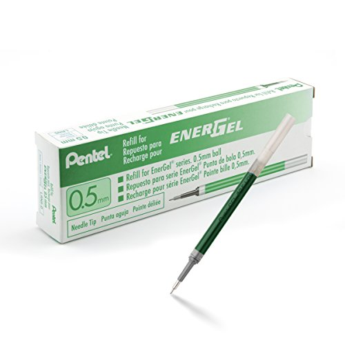 Pentel Refill Ink for EnerGel Gel Pen, 0.5mm, Needle Tip, Green Ink, Box of 12 (LRN5-D) (Green Ink Pentel)