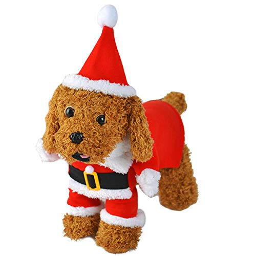 LAWOHO Christmas Pet Costumes Dog Suit with Cap Santa Claus Clothes Santa Outfit & Hat Dog Hoodies Xmas Decor for Doggies Puppy Kitten Dogs Cats - Santa Dog Suit Claus