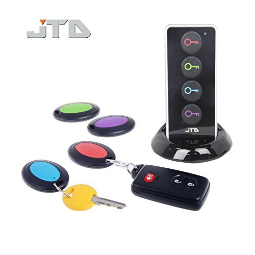 JTD--Wireless-RF-Item-LocatorKey-Finder-with-LED-flashlight-and-base-support-With-4-Receivers-Key-Finder-Wireless-key-RF-locator-Remote-Control-Pet-Cell-Wireless-RF-Remote-Item-Wallet-Locator