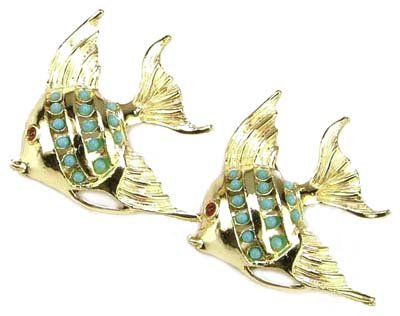 - Black Market Antiques Vintage 50's Golden Angel Fish Turquoise Accents Brooch Pair