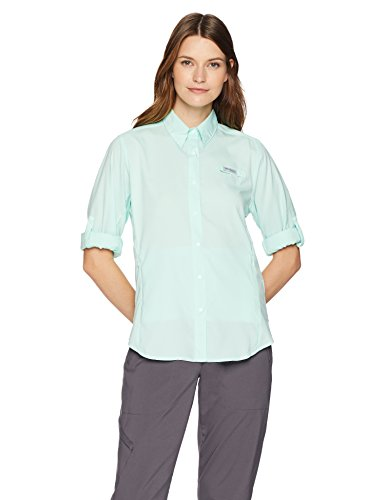 (Columbia Women's PFG Tamiami II Long Sleeve Shirt , Sea Ice, X-Large)