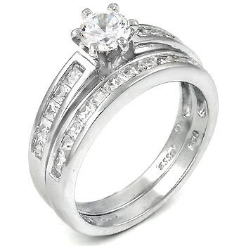 Amazon.com: Sterling Silver Cubic Zirconia CZ Wedding Engagement Ring Set:  Fake Wedding Ring Sets: Jewelry