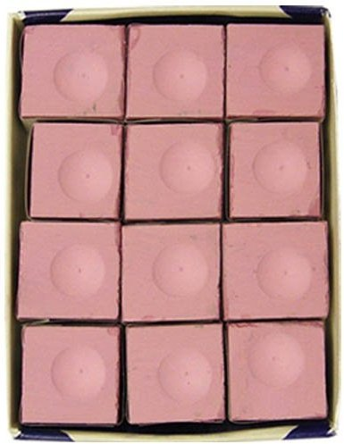 (Sterling Gaming Silver Cup USA Made Billiard Chalk in Pink - 12 Pc Set)