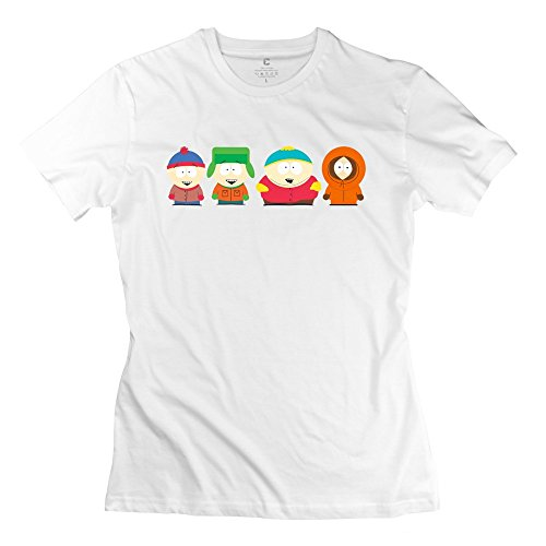 RenHe Women's South Park Stan Kyle Cartman Kenny Slim Fit T-shirts Size S White