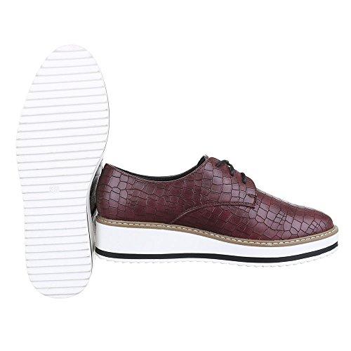 Ital-Design - Zapatos Planos con Cordones Mujer Braun Rot