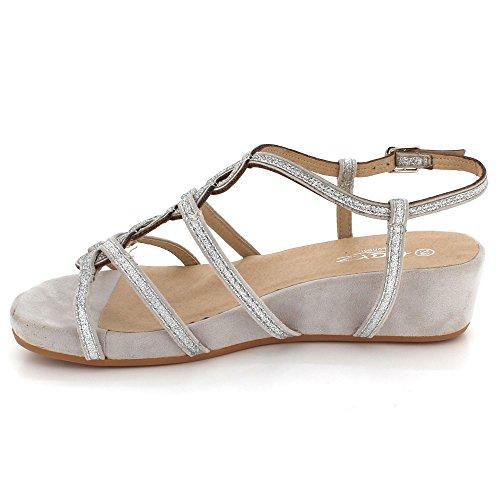 Bal Mariage Multi Dames Strap Soir compensé Talon Taille Femmes Chaussures de Fête Sandales Argent des Décontractée Diamante tXvxw