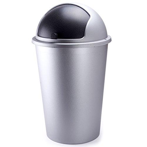 Push Mülleimer 50 Liter Grau - Abfalleimer 50L Push Can - mit Schiebedeckel - 68cm x 40cm grau