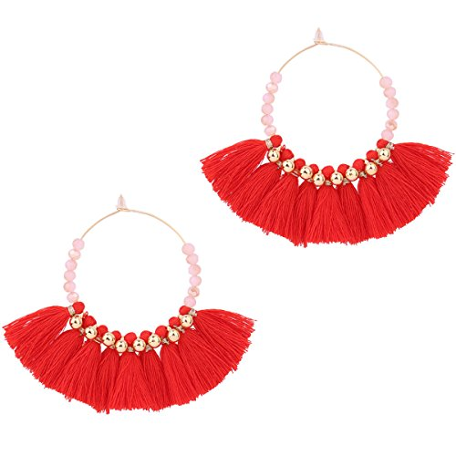 Red Beaded Earring - 8