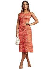 فستان عملي بتصميم منقط وقبة مربعة للنساء