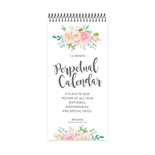 (Floral Perpetual Birthday, Anniversary, Special Event Reminder Calendar Book Journal for Important Family Date Day Remembrance Wall Hanging, Mom Dutch Happy Bday Birthdate Gift Card Planner Organizer)