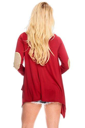 Pinkyee - Cárdigan - para mujer rojo vino