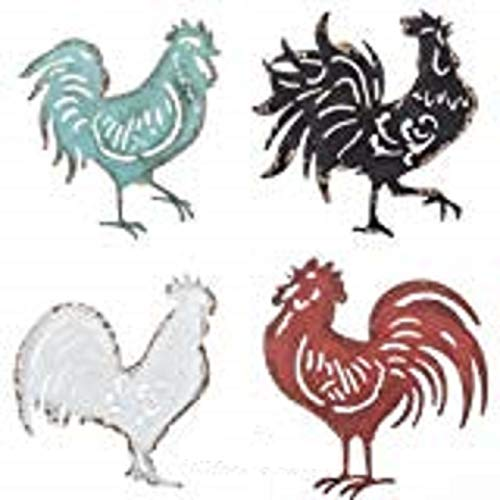Four Rustic Roosters Farmhouse Wall Décor