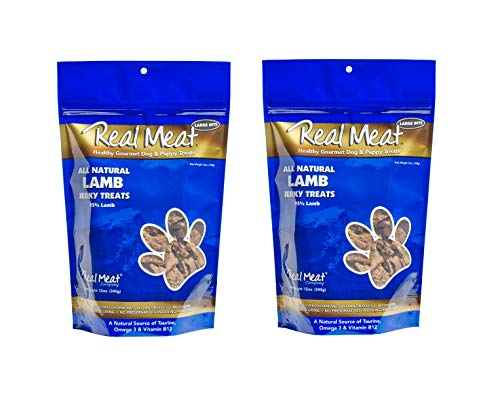 (THE REAL MEAT COMPANY 828010 Dog Jerky Lamb Treat, 12-Ounce pack of 2 )