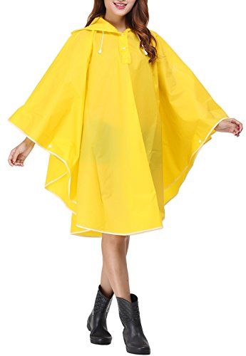 Vcansion Women's Lightweight Packable Poncho Wind Hooded Raincoat Coat Yellow L-XL (Coat Marpat)