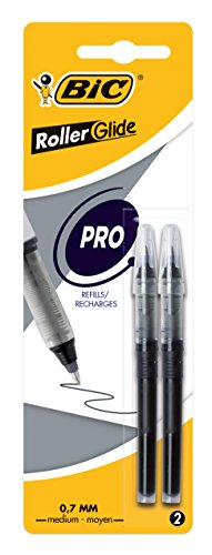 BIC Pen Refills Pack of 2 Roller Ball Pens with Liquid Ink Black