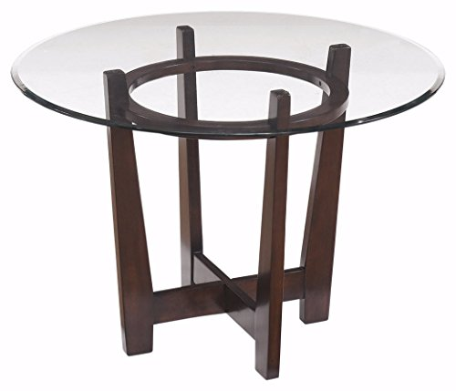 Brown Dining Table Glass (Ashley Furniture Signature Design - Charrell Dining Room Table - Glass Top - Round - Medium Brown)
