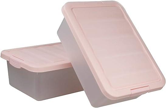 Ucake Juego de 2 Cajas de Almacenamiento de Plástico Grandes para Debajo de la Cama, Color Rosa: Amazon.es: Bricolaje y herramientas