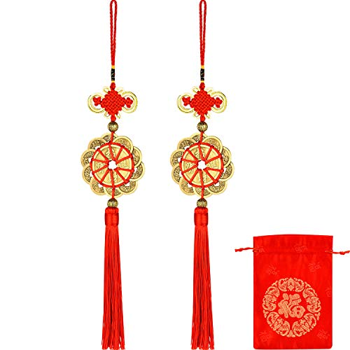 Pangda 2 Sets Feng Shui Coins Lucky Coins Chinese Ancient Ching Coins Ten Emperor Coin for Wealth with Chinese Knot and Chinese Good Luck Fortune Bag Red Brocade Pouch ()