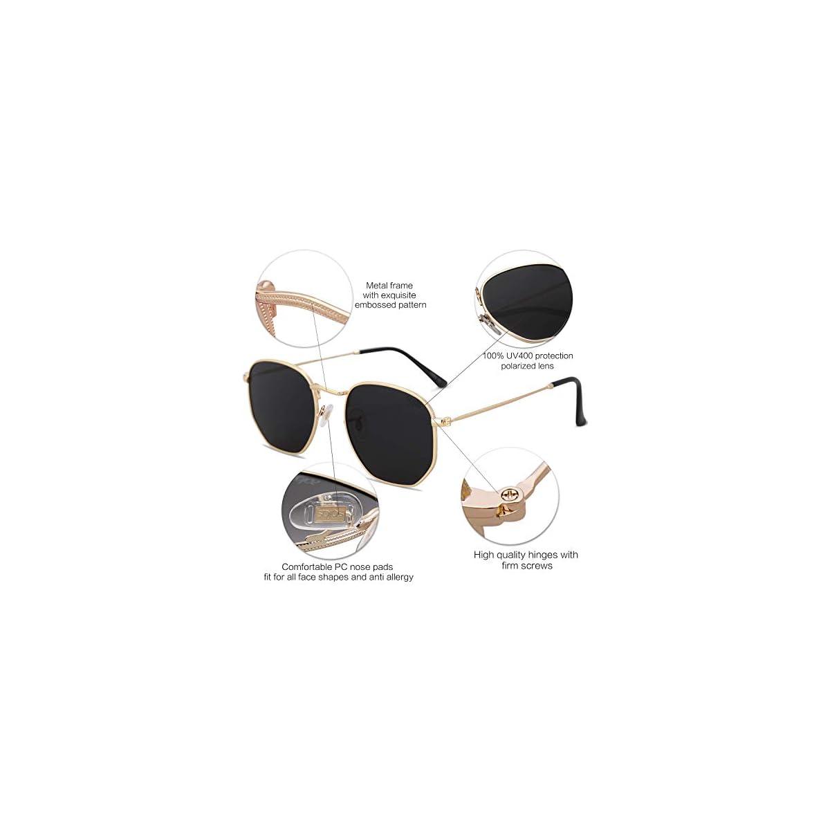 SOJOS Gafas de sol polarizadas para hombres mujeres retro aviador cuadrado gafas cl/ásico aleaci/ón marco HERO SJ1126