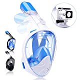 QingSong Newest Version Full Face Snorkel Mask with Safety Free Breathing System, Foldable 180 Degree Panoramic Snorkel Set with Detachable Camera Mount Anti-Fog Anti-Leak