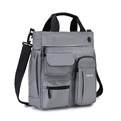 YUOTO Messenger Bag Multiple Pocket Shoulder Bag Crossbody purses handbag fit Ipad Pro Laptop 14 inch gray