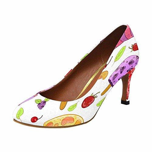 Interestprint Mujeres Classic Fashion High Heel Dress Bomba De Bomba, Fresa, Bayas, Sandía
