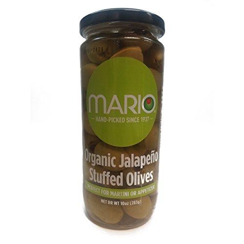 Mario Camacho Foods Organic Stuffed Olives, Jalapeno Stuffed, 10 Ounce - Olives Stuffed Green Jalapeno