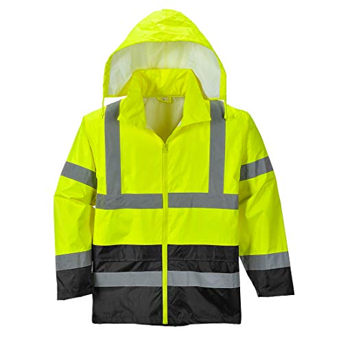 Portwest UH443YBRS Hi-Vis Contrast Rain Jacket Textile, Size- Small, Yellow/Black by Portwest (Image #1)