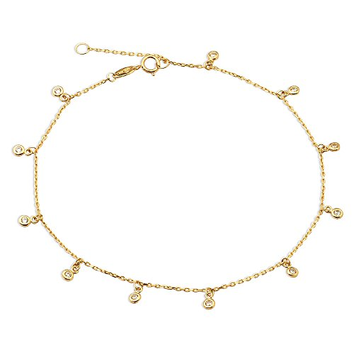 (LOVEBLING 10K Yellow Gold .50mm Diamond Cut Rolo Chain with 11 CZ Stone Pendants Anklet Adjustable 9
