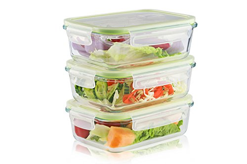 LIVING EXPRESS 3 Pieces Glass Food Storage Container Set with Snap Locking Lid,Airtight,Microwave,Oven,Freezer,Dishwasher Safe,BPA-Free (Large Square)