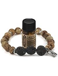 SaintH Picture Jasper Lava Stone Diffuser Bracelet Includes Essential Oil Sample