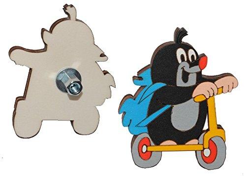 Möbelknauf / Möbelgriff / Möbelknopf - der kleine Maulwurf mit Roller - Holz Kinder Kinderzimmer Fahrrad Möbel - für Mädchen Jungen Kindermöbel Kinder-Land