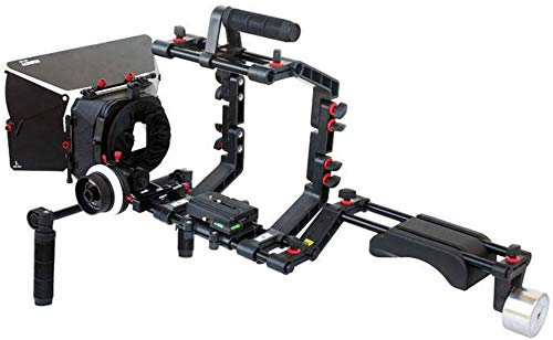 FILMCITY DSLR Camera Cage Shoulder Mount Rig Kit (FC-03) with Follow Focus & Matte Box   Shoulder Stabilizer Support for Video DV Camcorder HD DSLR   Best Affordable Kit by FILMCITY