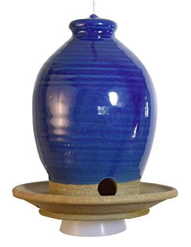 Beehive Bird Seed Feeder: American Made Frost-resistant Stoneware Pottery, Royal Blue