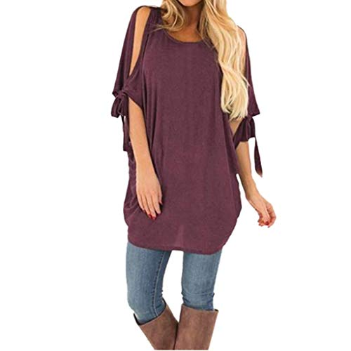 (Aunimeifly Woman's Round Neck Ladies Plain Tops Casual Nude Tunic Half-Sleeved Cutout Loose Light Shirts Blouse)