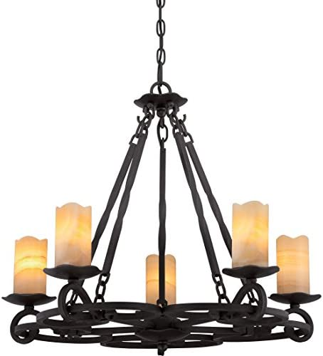 Quoizel AME5005IB Armelle Rustic Lodge Faux Alabaster Candle Chandelier, 5-Light, 300 Watts, Imperial Bronze 23 H x 28 W
