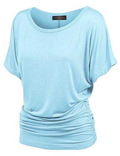Aqua Knit Top - Made By Johnny WT817 Womens Dolman Drape Top with Side Shirring XS Aqua