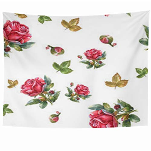 InnoDIY Tapestry Wall Hanging 80 x 60 Inches Watercolor Painting Red Rose Pattern Nature Ivy Orchid Leaf Flowers White Green Floral Vintage Decor Tapestries Art for Home Bedroom Living Room ()