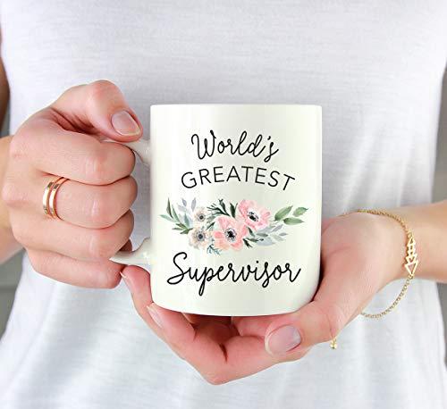 Andaz Press 11oz. Coffee Mug Gift for Women, World's Greatest Supervisor Mug, Bohemian Pink Anemone Floral Flower, 1… |