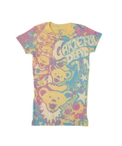 Liquid Blue Women's Grateful Dead Bubble Gum Bears All Over Print Graphic Tee, Yellow, Large (Greatful Dead Bear)