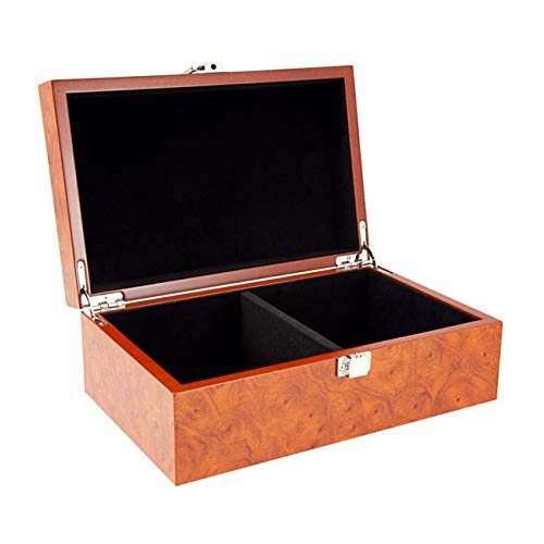 Regencychess Root Wood Burl Chess Piece Case with Hinged Lid Small ()