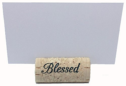 "Wine Cork Place Card Holders, Custom Cork Card Holders, ""Blessed"" set of 25, Includes Place Cards, Escort Card, Rustic Wine Cork, Table Décor, Wine Theme, Vineyard Wedding, Cork Placecard"