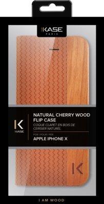 Coque Clapet pour Apple iPhone X, Marron & Bois De Cerisier Naturel