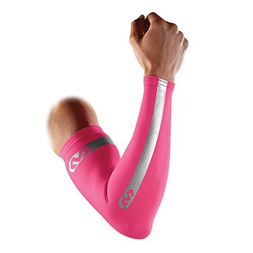 McDavid Pair Compression Reflective Arm Sleeves, Small, Bright Pink
