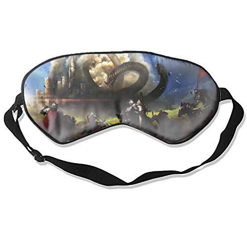 Sleeping Eye Mask Fantasy Hydra Knight Battle Castle Sword Natural Silk Eye Mask Cover With Adjustable Strap (Hydra Floral Eye)