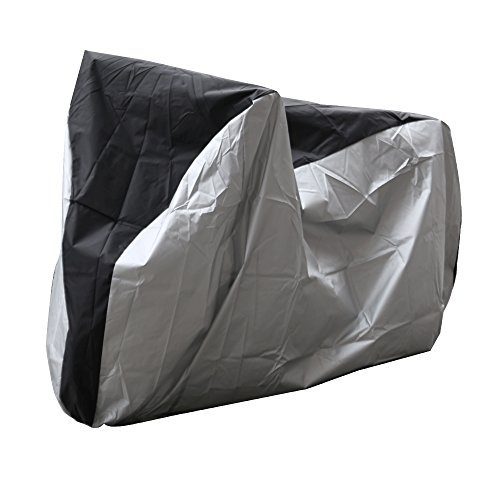 EaseeTop Bike Cover Extra Heavy Duty Bike Protector Durable Waterproof Outdoor Bicycle Storage With A Carry/Storage Bag, Silver & Black In Color, Size L