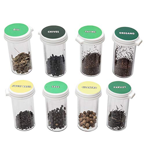 8 Premium Culinary Herb Garden Seed Kit | Grow Fresh Organic Herbs & Spices at Home | Stay Fresh Vials with More Seeds Than Traditional Seed Packets | Basil, Rosemary, Thyme & More by Ashbrook Outdoors
