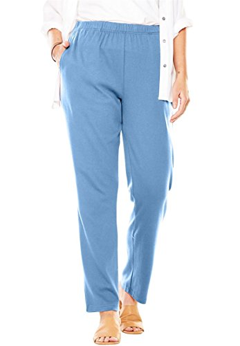 Woman Within Plus Size 7-Day Knit Straight Leg Pant - Blue Cloud, M