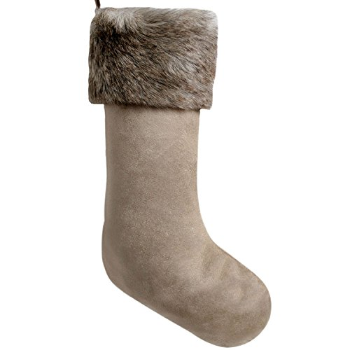 Gireshome Khaki Suede with Faux Fur Cuff Christmas Stocking Xmas Tree Decor Festival Party Ornament 10