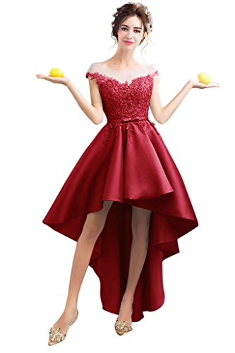 Vimans Girls High Low Sexy Satin Sash Hot Summer Holiday Dress with Sleeves, (Sexy Hot Red Satin Gloves)